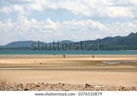 Long sandy beach at Chumphon, There is called Bo Mao Bay or Ao Bo Mao Bay Chumphon, Thailand #1076510879