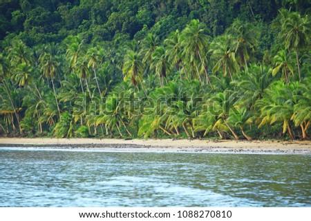 Long sandy beach at Chumphon, There is called Bo Mao Bay or Ao Bo Mao Bay Chumphon, Thailand #1088270810