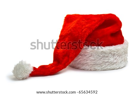 Long Santa Claus hat, lying on a white background. Isolated on white.