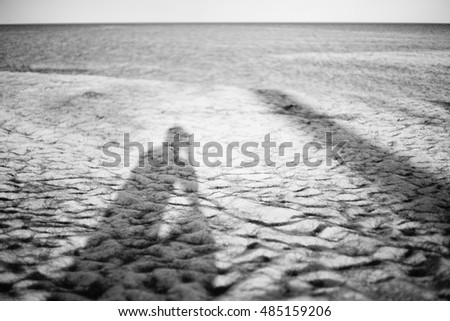 long shadow of the man taking photo of himself on a sand beach with blurred sea in background,sad concept,lonely concept,selective focus,black and white color picture