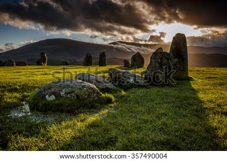 Long shadows of the stones at Castlerigg stone circle