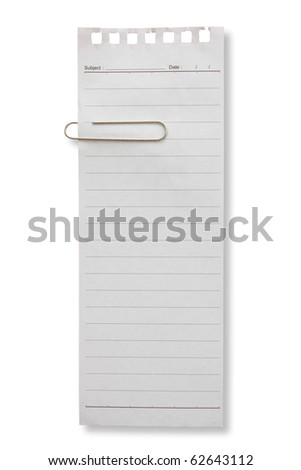 Long shape blank page white paper and clip for note something and attach at a door