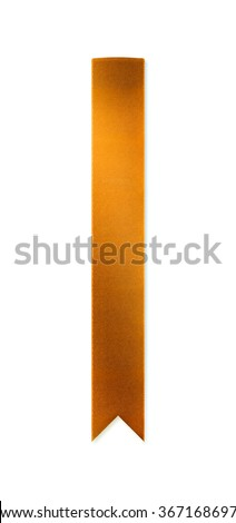 Long, shiny golden ribbon bookmark for use as a page reminder or divider. Photographed isolated on a white background. An attractive design element for web pages and brochures.