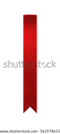 Long, shiny red ribbon bookmark for use as a page reminder. Photographed isolated on a white background. An attractive design element for web pages and brochures.