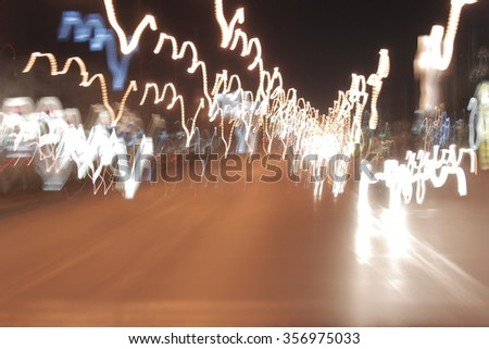 Long shoot light abstract background , Shooting by setup camera behind the car moving in the night. #356975033