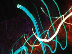 Long shutter speed of light with various color and shape