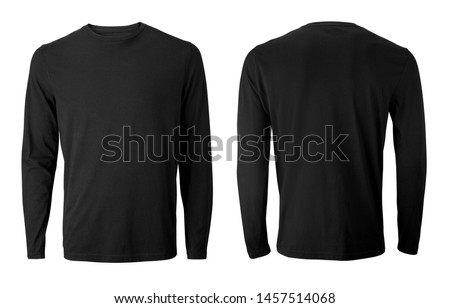 Long sleeve black t-shirt with front and back views isolated on white