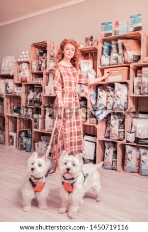 Long squared dress. Curly red-haired woman wearing long squared dress standing near her dogs