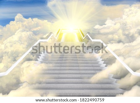 Long Staircase high way to heaven, Empty Stair steps along Cloud in Sky to Light of Hope or Sun. Concept Bright Future in Life. Stairs way lead up to heaven sky toward light, copy space