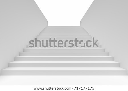 Long staircase with white stairs and walls in underground passage going upward, 3d illustration