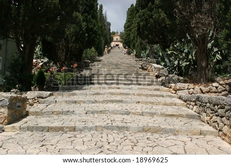 Long stairway with 365 steps to the church in Pollenca, Mallorca (Spain)