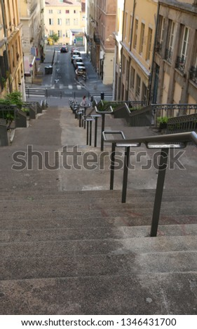 long stairways in the downtown of Lyon in France in Europe #1346431700