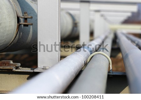 long steel pipe in oil refinery