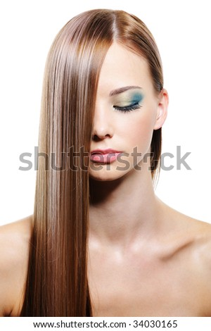 Long straight smooth gloss female hair isolated