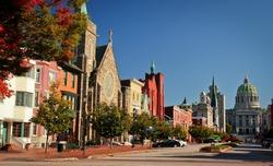 Long street of historical part of Harrisburg in Pennsylvania, US
