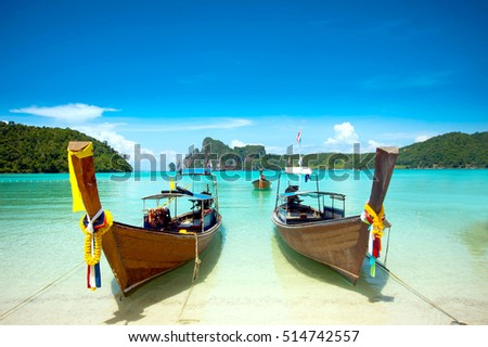long tail boat at Phi Phi Island Krabi Thailand