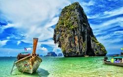 Long tail boat at Phra Nang Cave