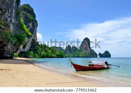 Long tail boat at Tonsai beach, between Ao Nang beach and Railay beach in the Andaman Sea, Krabi province, Thailand