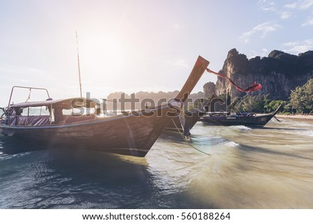 long tail boat on railay beach in Krabi, Thailand #560188264