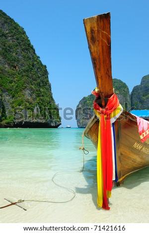 Long-tail boats at Maya bay of Phi-Phi island, Krabi, Thailand