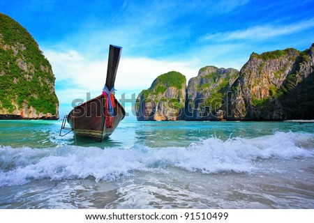 Long tail boats in Maya Bay, Koh Phi Phi Ley, Thailand. The place where the movie the Beach was filmed