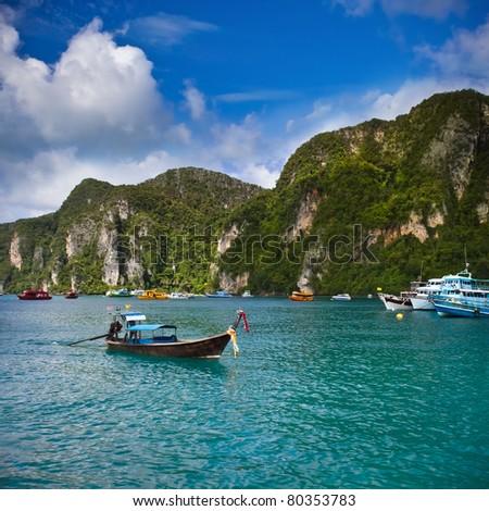Long Tailed Boat at Phi Phi