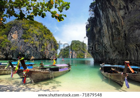 stock photo : Long tailed boats in Thailand