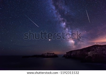 Long time exposure night landscape with planet Mars and Milky Way Galaxy during the Perseids flow above the Black sea, Bulgaria #1192311532