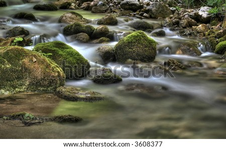 long time exposure of a brook or creek (flowing water), HDRI