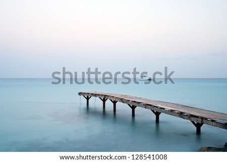 Long time exposure of a jetty in the mediterranean sea