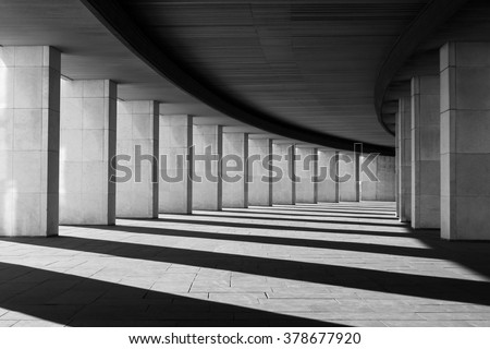Long tunnel with columns in black and white #378677920