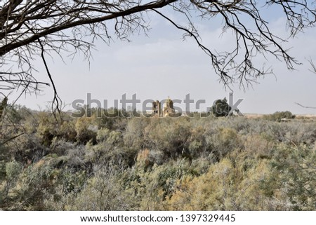 Long View of St John the Baptist Church with Tree Branch Foreground, Jordan #1397329445