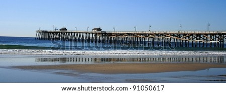Long view of the beach and pier, San Clemente, CA