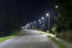 long village street with LED streetlights