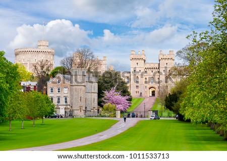 Long walk to Windsor castle in spring, London suburbs, UK