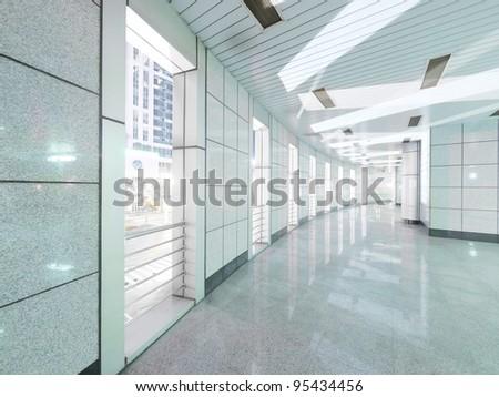 Long walkway in modern building