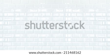 Long White ceramic brick tile wall,background