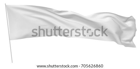 Long white flag on flagpole flying and waving in wind isolated on white, 3d illustration.
