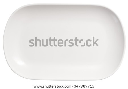 long white plate isolated on white background