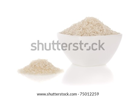 Long white rice in a bowl isolated on a white background