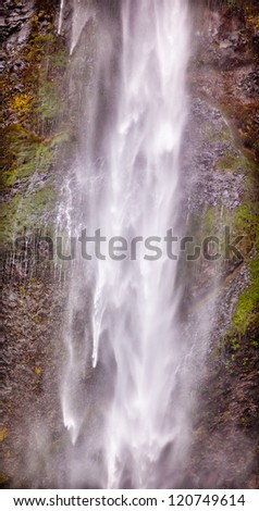 Long White Water Spray Abstract Multnomah Falls Waterfall Columbia River Gorge, Oregon, Pacific Northwest