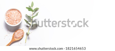Long wide banner with organic Himalaya salt and twig of fresh aromatic eucalyptus on white background. Spa and wellness concept. Minimalism style composition.