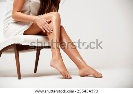 Long Woman Legs . Beautiful Woman Cares About Legs. Depilation