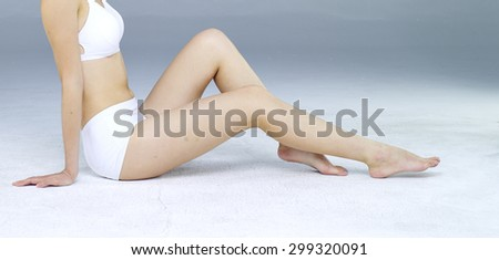 Long Woman Legs isolated on White #299320091
