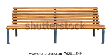 Long wooden bench isolated on a white background #762811549