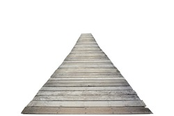 Long wooden bridge isolated on white background. This has clipping path.