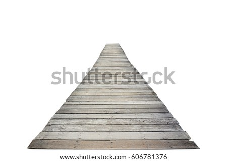 long wooden bridge isolated on...