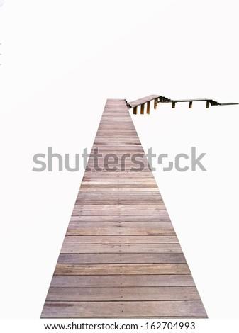 Long wooden bridge on isolated white background
