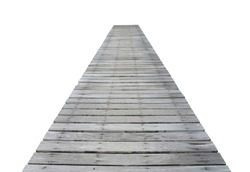 Long wooden pier isolated on a white background.