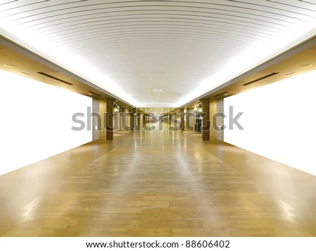 Long wooden walkway in underground